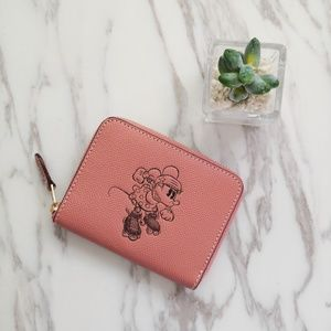 COACH SMALL ZIP AROUND WALLET WITH MINNIE MOUSE